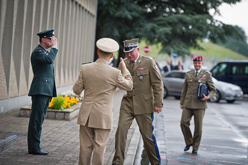 Adm. James Stavridis-Supreme Allied Commander Europe(left), welcomes the Polish ChoD inat Supreme Headquarter Allied Power Europe. on the 29 June 2012. (NATO photo by Ger.Army Sgt. Emily Langer)