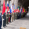 The SHAPE Honour Guard in front of the Hotel de Ville in Mons, Belgium on 1 April 2017. (NATO Photo Sgt. 1st Class Stefan Hass - DEUA)