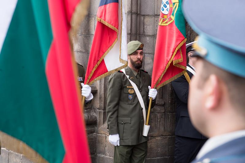 The SHAPE Honour Guard in front of the Hotel de Ville in Mons, Belgium on 1 April 2017. (NATO Photo Sgt. 1st Class Stefan Hass - DEUA)
