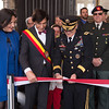 Supreme Allied Commander Europe, General Curtis M. Scaparrotti cuts the ribbon together with the Mayor of Mons, Mr, Elio di Rupo to open the exhibition of 50 years of SHAPE in Mons. (NATO Photo by Sgt. 1st Class Stefan Hass - DEUA)
