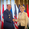 Supreme Allied Commander Europe, General Phil Breedlove, welcomes Albanian Minister of Defence, Mrs. Mimi Kodheli, during an Office call at Supreme Headquarters Allied Power Europe/Belgium on 26. May 2014. (NATO photo by Sgt. Emily Langer/ DEU Army)