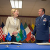 Supreme Allied Commander Europe, General Phil Breedlove, welcomes Albanian Minister of Defence, Mrs. Mimi Kodheli, during a signing Ceremony at Supreme Headquarters Allied Power Europe/Belgium on 26. May 2014. (NATO photo by Sgt. Emily Langer/ DEU Army)