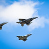 A Polish Air Force MiG-29, U.S. Air Force F-15 and an Royal Air Force Typhoon fly in formation over Šiauliai Air Base, April 30, 2014. The formation flew to signify the transfer of Baltic Air Policing responsibility from the U.S. to the Polish and RAF personnel who will maintain 24/7 air policing mission over the Baltic Skies.