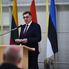 Algirdas Butkevicius, Prime Minister of Lithuania, speaks during the handover ceremony of the Baltic Air Policing Mission at the Air Base of the Lithuanian AIr Force in Siaulia, Lithuania, April 30, 2014.