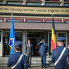 General Philip Breedlove, Supreme allied Commander Europe, welcomes Belgian Prime Minister Elio Di Rupo during a Honor Guard Ceremony at Supreme Headquarters Allied Powers Europe in Mons, Belgium 24th Jan. 2014 (NATO photo/ Sgt. Emily Langer/ DEU Army)