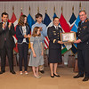 13 June 2012 - COS Commendation Awards in Protocol Lounge. Col Catherine Bourdes-Faury of Capabilities, Plans and Polices Division, joined by her husband Etienne Faury, their son Vincent and daughters Ellen and Anne. (NATO photo by Ger. Army Sgt. Emily Langer)