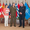13 June 2012 - COS Commendation Awards in Protocol Lounge. LtCol, Vincent Ciuccoli USMC of Operations and Intelligence Division, joined by his wife Mrs. Savanna Ciuccoli and their daughter, Emilia.(NATO photo by Ger. Army Sgt. Emily Langer)