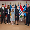 13 June 2012 - COS Commendation Awards in Protocol Lounge. Col Catherine Bourdes-Faury, French Air Force, has served as Head of the Capabilities, Plans and Polices Division, joined by her husband Etienne Faury, their son Vincent and daughters Ellen and Anne. (NATO photo by Ger. Army Sgt. Emily Langer)