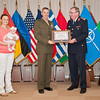 13 June 2012 - COS Commendation Awards in Protocol Lounge. LtCol, Vincent Ciuccoli orf Operations and Intelligence Division, joined by his wife Mrs. Savanna Ciuccoli and their daughter, Emilia.(NATO photo by Ger. Army Sgt. Emily Langer)