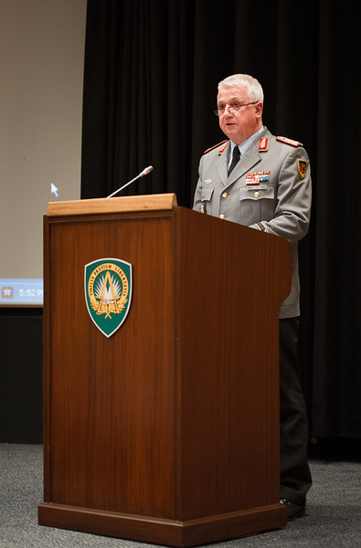 Ms Zainaib Bangura gives presentation at SHAPE Auditorium on Monday 27th, 2013. SHAPE Chief of Staff, General Werner Freers, gives opening remarks during this event. (NATO photo by Sgt Peter Buitenhuis, RNLAF)