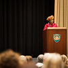 Ms Zainaib Bangura gives presentation at SHAPE Auditorium on Monday 27th, 2013. (NATO photo by Sgt Peter Buitenhuis, RNLAF)