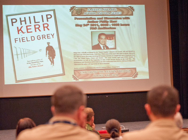 On may 24, 20111, as a part of the the SACEUR's notable author series, Mr. Philiip Kerr presented his book Grey to an audience in the SHAPE PAO auditorium.