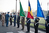 SACEUR, Adm James Stavridis, attends to a Welcome Ceremony in honor of Romanian ChoD, LTG Stephan Danila, at SHAPE on the 21st of November 2011. Picture by Sgt Emily Langer (German Army)