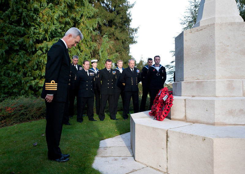 Image from the The Royal Naval Division Memorial Service held at the St Symphorien Military Cemetery, Mons, Belgium, on Friday 19 October 2012.<br /> <br /> Each year members of the Royal Navy stationed at the Supreme Headquarters Allied Powers Europe, Mons, Belgium, visit St Symphorien Military Cemetery (Mons), Passchendaele New British Cemetery (Passchendaele) and Tyne Cot Cemetery (Ypres) to hold memorial services at each location for the sailors and Royal Marines who lost their lives during World War One.<br /> (Photographer - SSgt Ian Houlding GBR Army)