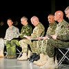 Six high-ranking flag officers from across the NATO command structure and one from a partner nation perform the play Seven during the first performance of the play by members of the armed forces at the Supreme Headquarters Allied Powers Europe in Mons, Belgium. Seven is a work of documentary theater based on the real life stories of seven women's rights activists from seven different countries who overcame obstacles to bring about change in their home countries. The performance was aimed at challenging NATO personnel and the international community to understand, to experience and to promote alternative perspectives on human and women's rights and to stimulate the debate on women's role in society. (NATO photo by Mass Communication Specialist 2nd Class Joshua Keim, U.S. Navy)