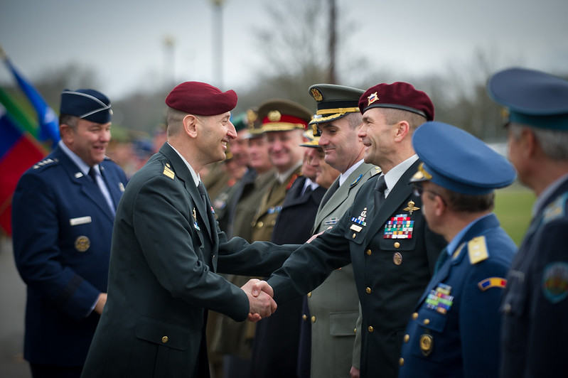 On Feb. 25, 2014, Slovenian Chief of Defence, Major General Dobran Božič, greets the Slovenian National Military Representative at SHAPE, after being welcomed by Supreme Allied Commander Europe, General Phil Breedlove, during the Welcome Ceremony at Supreme Headquarters Allied Power Europe, Belgium.<br /> (NATO photo by Edouard Bocquet)