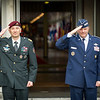 On Feb. 25, 2014, Supreme Allied Commander Europe, General Phil Breedlove (right), and Slovenian Chief of Defence, Major General Dobran Božič (left), render honours during the Welcome Ceremony at Supreme Headquarters Allied Power Europe, Belgium.<br /> (NATO photo by Edouard Bocquet)