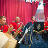 Brigadier W.N. Aldridge, UK Senior National Representative  invites to The Band and Corps of Drums of the Princess of Wales's Royal Regiment. On the 25th Aug 2014. SHAPE/Belgium (NATO Photo by Sgt. Emily Langer/ DEU-Army)
