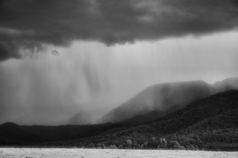 One day started out nice and sunny. I took lots of nice photos of Eurobin Falls. We travelled down to Porepunkah. And as we turned to return back up the mountain, we saw a tremendous thunderstorm rolling in. This photo was taken from the Buckland Valley Road, just past the Porepunkah roundabout just as the rain started pouring down and the lighting started flashing.