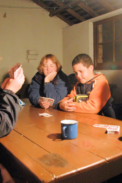 Playing cards in the hut.