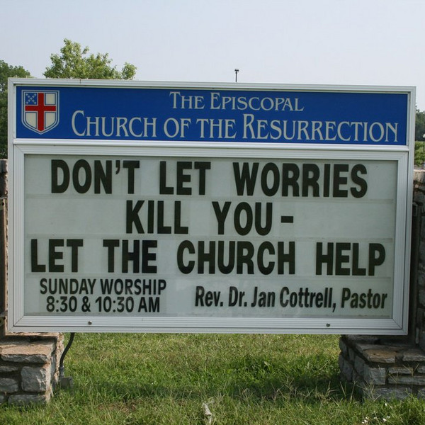 """Knowing how much Martin Zender """"Loves"""" church signs, we gave him a framed copy of one of my favorites! -DH"""