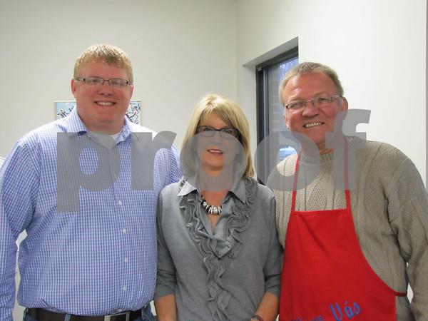 Joe Vonsak, Jr., Jane Johanson, and Joe Vonsak greeted attendees to the 33rd Annual Czech Heritage Dinner held at the Corpus Christi Parish Center.