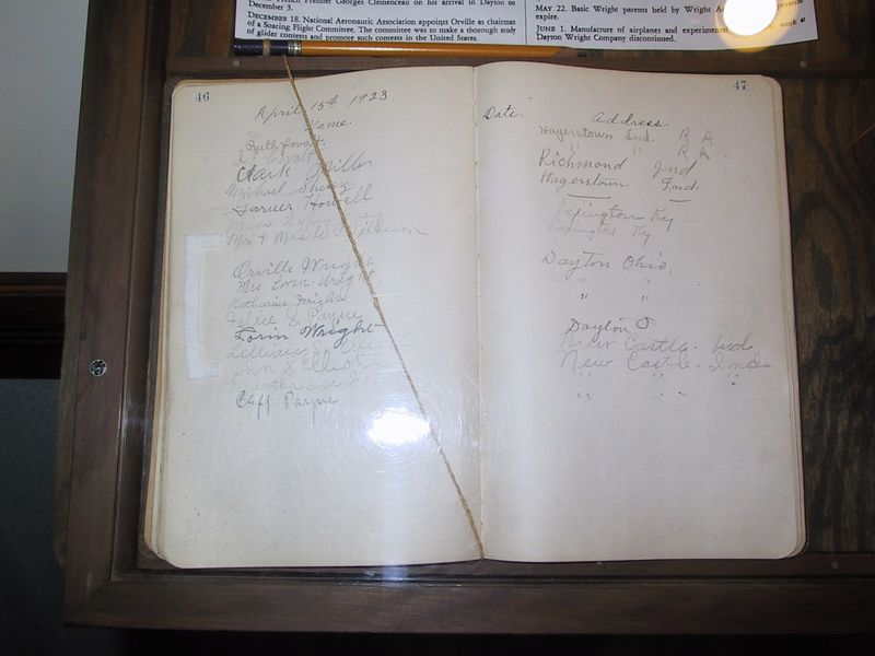 Wilbur Wright birthplace [3/27/2004] <p> Orville Wright came and visited the site on April 15, 1923, as shown by his signature in the guest book here.  Wilbur had died in 1912 of typhoid fever.