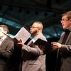 Stewart Center: Apprentice Recital: Connor, Bryan and Daniel, singing Pilgrim Hymn
