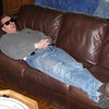 Jeff Hoge sleeping on couch