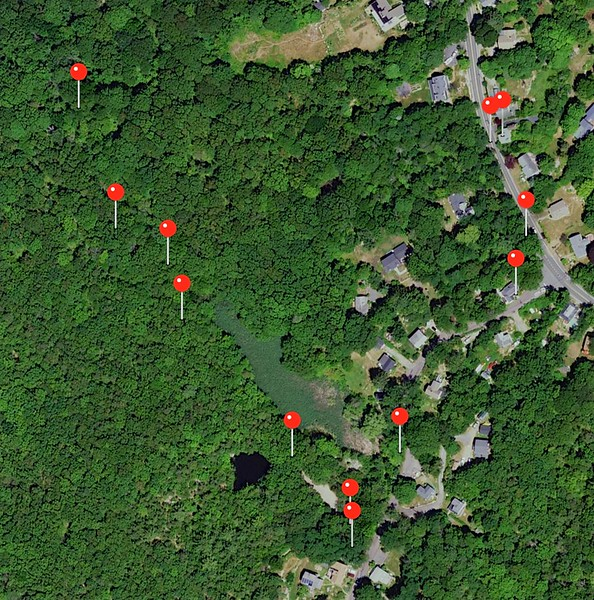 Rockport: Pine Pit:  Map of pictures along route walked toward Mass Audubon land