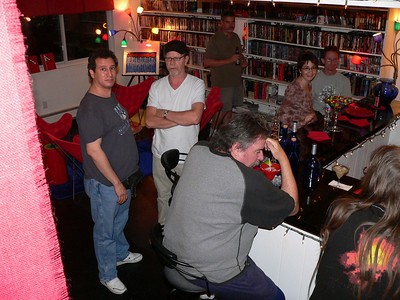 Randy, Larry, Paul (in back), Chip, Gina and Dave listen to Scott Cleland.