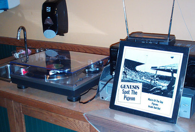 Turntable all hooked up and a rare Genesis LP spinning.