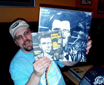 Jeff Smith shows his German edition Peter Gabriel discs.