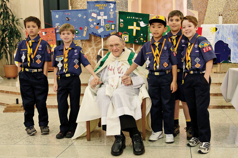 Den 2 of Pack 226 with Monsignor Sammon