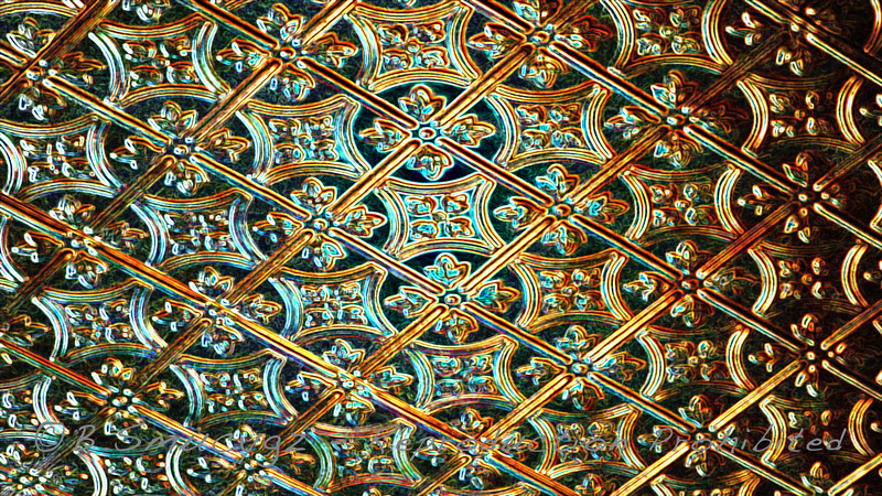 Bronze tin ceiling, glowing edges filter
