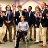 Boston: Wayfair: Aires singing to alumna