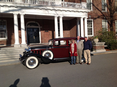 May 2013.  Wendy Jones, John Sweney, Jamie Jones with John's 1932 Cadillac at Middlesex.