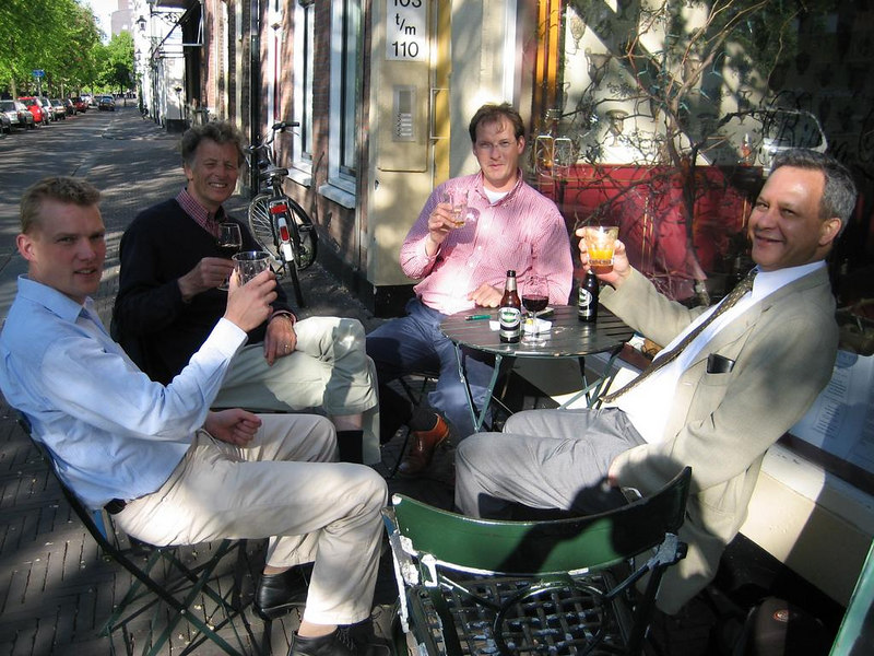 """The """"Kring"""", i.e. local circle, of the <a href=""""http://www.kivi.nl/"""">KIVI</a> (Royal Institute for Engineers) of The Hague at a monthly gathering. It was a sunny afternoon and we enjoyed a drink on the terras of Bistro L'Orange in het Groenewegje. That's the Avenue Culinaire of Den Haag... ;)"""