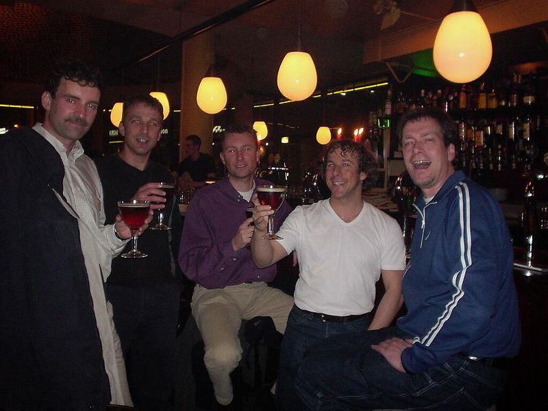 JP, Maarten, Raymond, Ton and I in Greve (Den Haag) during a little Not a Number reunion-get-together-type-thing (March 2003)