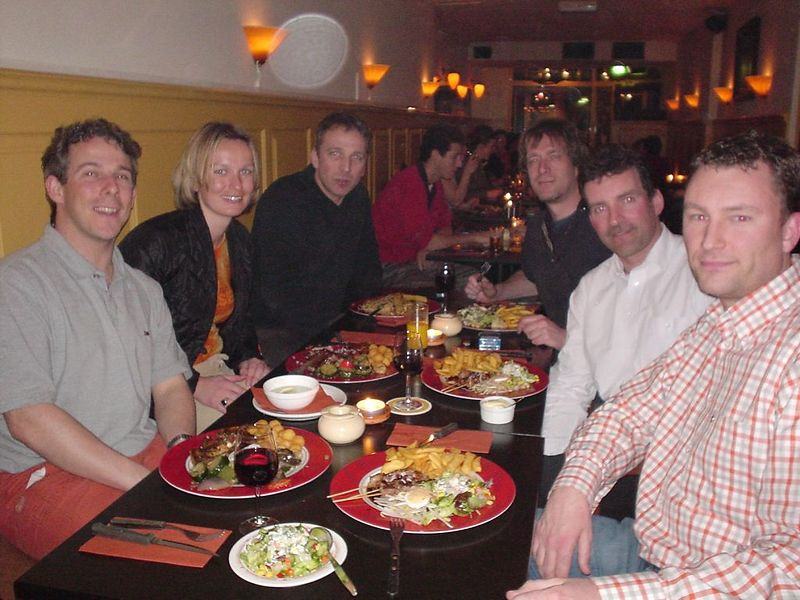 """My old colleagues from Not a Number in the restaurant """"naast de Paap"""" in Den Haag: Maarten, Ton, JP and Raymond with Petra and me"""