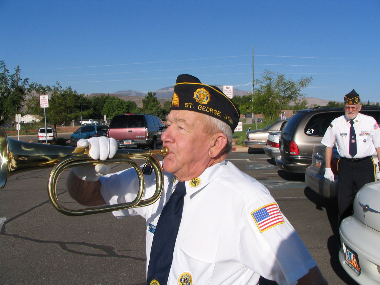 Lambert Jensen, practicing on his bugle.