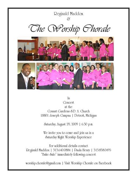 2009 Worship Detroit Concert Flyer