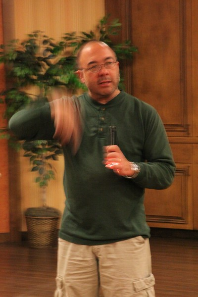 """Ernie Ross presented the workshop on """"painting with light""""."""