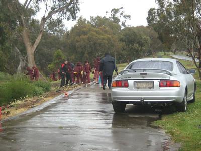 Coburns Primary School students - Working in the rain