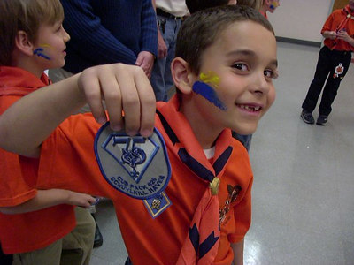 May 2005: Collin Bartol shows the 75th Cub Scout commemorative patch for Schuylkill Haven Cub Scout Pack 625.