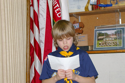 February 2006: Wolf Den member, Mark Bulino reads an original prayer before the meal at the Blue & Gold Banquet