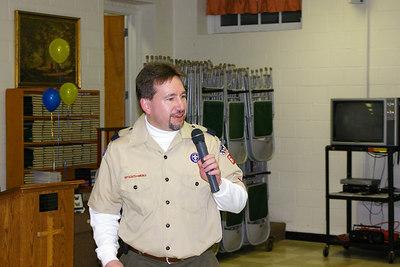 February 2006: Den Leader, Brian Moyer addresses Blue & Gold Banquet