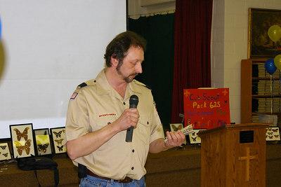 February 2006: Den Leader, Joe Bulino addresses Blue & Gold Banquet