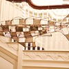 Art Opening: Fish/dirigible sculpture hanging from stairs