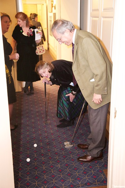 Burns Night: Foursome coming off elevator on second floor on Hole 1